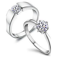 chapado en plata día de la manera de regalo de las mujeres anillos par zirconia cúbicos claros unisex (2 piezas)