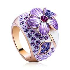 Austria Crystal Amethyst Jewelry Enamel Flower Ring\\