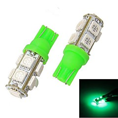 Merdia T10 2.5W 90LM 9x5050SMD LED Green Light Reading Light / Instrumentti Light / Maavara Lamppu (Pair / 12V)
