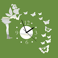 """20""""H Modern Style Angle Butterfly Mirror Wall Clock"""