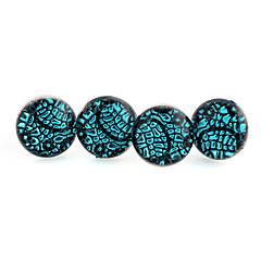 Fashion Round Squama Blue Acrylic With Silver Alloy Stud Earrings (2 Pairs)