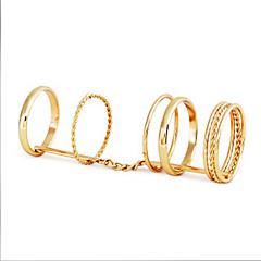European Multi-circle Women's Gold Alloy Midi Rings(1 Pc)