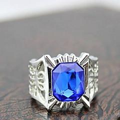 z&anillos declaración azul rhinestone X® aleación de plata de los hombres europeos rectángulo (1 pc)