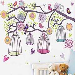 1st färgglada morgon fågelbur vägg klistermärke