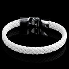Classic Woven 22cm Unisex White Leather Leather Bracelet(1 Pc)