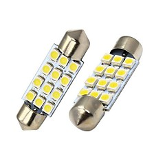 Merdia 39MM 60LM 1.8W 12x3528SMD LED White License Plate Light / Instrument Lamp (2 PCS/12V)