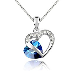 18K White Gold Plated Heart Of The Ocean Pendant Necklace