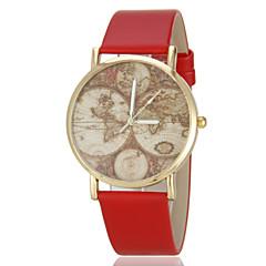 여자의 포도 수확지도 본 PU 밴드 석영 손목 시계 (분류 된 색깔)
