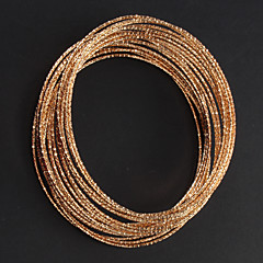 18.5cm clasic asortate de culoare din aliaj de Adunarea Bangles (aur, argint), (6 buc)