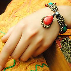 Ethnic Bohemia Turquoise 15cm Women's Red Agate Friendship Bracelet(Green)(1 Pc)