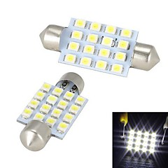 Merdia Festoon 42mm 16 x SMD 3528 LED White Light  for Car Steering Light Bulb / Reading Lamp - (2 PCS)