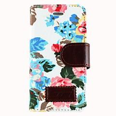 Caso Corpo Tecido Rosas PU couro protetora completa com slot para cartão e suporte para iPhone 5/5S (cores sortidas)