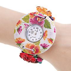 Women's Flower Pattern White Wood Case Elastic Colorful Band Quartz Bracelet Watch