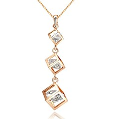 Triple Hollow Out Cube Crystal 18K White/Rose Gold Pated Pendant Necklace Jewelry Austria Crystal