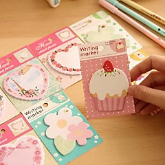 Flower Cake Heart Pattern Self-Stick Note(Random Color)