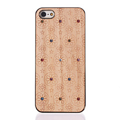 Diamond Look Flowers Carved Wooden Golden PC Hard Case for iPhone 5/5S