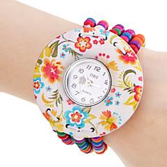 De las mujeres del patrón de flor elástico colorida de madera perla banda reloj pulsera de cuarzo