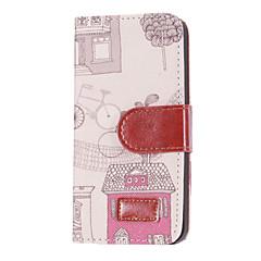Patrón casa caliente Funda de cuero Demin PU del estilo con ranura para tarjetas y soporte para iPhone 5/5S