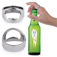 Stainless Steel Finger Ring Style Beer Wine Bottle Opener (20mm Diameter) - Silver