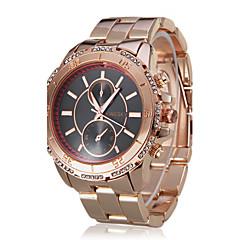 Women's Elegant Diamond Case Black Dial Gold Steel Band Quartz Wrist Watch (Assorted Colors)