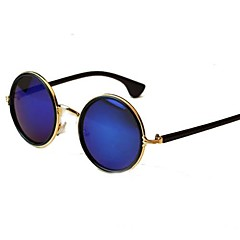 Unisex Vintage Colorful Lens Round Frame Metal Sunglasses