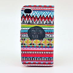 Hakuna Matata Tribal Carpet Pattern PU Leather Full Body Case with Magnetic Snap and Card Slot for iPhone 4/4S