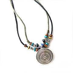Ethnic Ceramic With Wood (Round Silver Pendant) Black Fabric Statement Necklace (1 Pc)