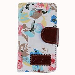 Fabric Roses PU lær beskyttende Full Body sak med kortspor og stativ for iPhone 4/4S (assorterte farger)