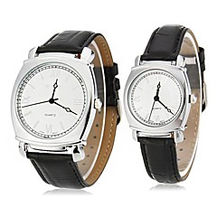 EYKI Couple's Roman Numerals Square Case Leather Band Quartz Wrist Watch (Assorted Colors)