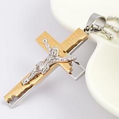 Mode gold / silber / schwarz Jesus-Kreuz Titan Stahl Anhänger
