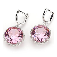 Fashion 925 Silver Plated Copper Pink Zircon Earrings