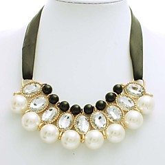 Korean Style White With Black Pearl Ribbon Necklace Women Collar Necklace