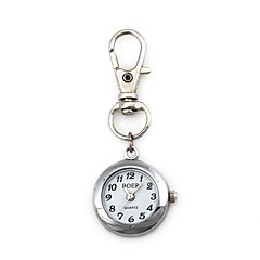 Unisex Round Pattern Quartz Metallic Keychain Watch