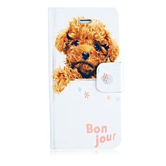 Teddy Dog Leather Full Body Case with Card Slot and Magnetic Snap for iPhone 5/5S