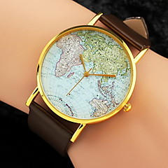 Dame Moteklokke Quartz World Map Mønster PU Band Svart / Hvit / Brun Merke-