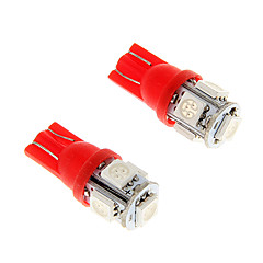 2st is röd t10 5-smd 5050 194 168 1.3W bil LED-indikator tänds inner glödlampor