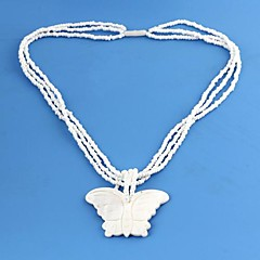 Women's Butterfly Pattern Shell Material Pendant Plastic Necklace 1pc