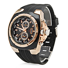 Men's Watch Military Gold Case Rubber Band