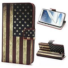 Retro USA Flag Pattern PU Nahka Plastic Cover Full Body Seiso tapauksessa kattaa Samsung Galaxy Note 2 / II N7100