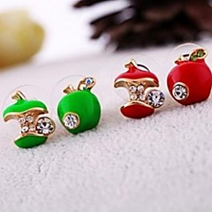 Apple Glaze Asymmetric Retro Stud Earring (Red and Green)