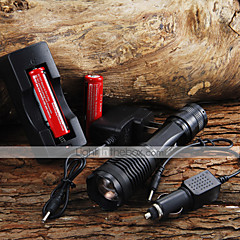 2000LM CREE XM-L T6 5 Mode Zoom LED zaklamp + 2x18650 batterij + Car Charge