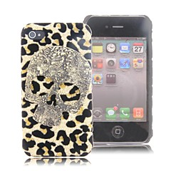 HOHONG (TM)  Bling Gold Skull Personalized PU Leather Skin Case for iPhone 4 / 4S