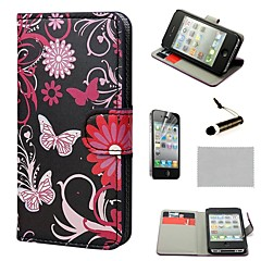 COCO FUN® Gerbera Wallet Card Slots Full Body PU Leather Cases With Stand For iPhone 4S Included Film And Stylus