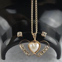 Miss ROSE®Zircon Pearl Two Heart Pattern Necklace & Earrings Jewelry Set