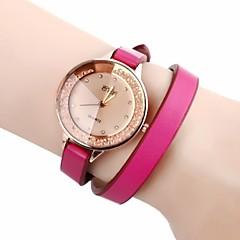 Femmes d'or Dial PU bande de quartz analogique montre-bracelet avec strass (couleurs assorties)