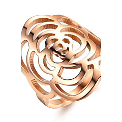 Hollow Out Ms Camellia Rose Gold Plated Titanium Steel Ring