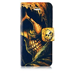 Skull Leather Full Body Case with Card Slot and Magnetic Snap for iPhone 4/4S