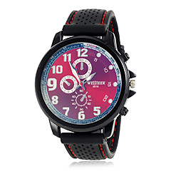 Men's Classic Fashionable Round Dial Silicone Band Quartz Analog Wrist Watch (Assorted Color)