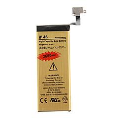 2680mAh ad alta capacità batteria del telefono cellulare d'oro per il iPhone 4s