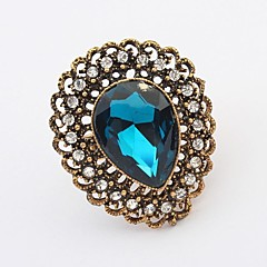 European and American Retro Fashion New Gemstone Statement Rings